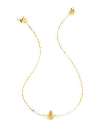 Matte Yellow Gold Plated Single Cone Necklace