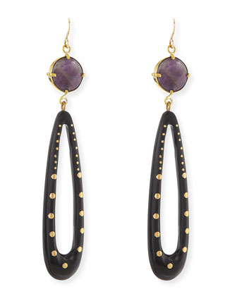 Shimo Amethyst and Dark Horn Earrings
