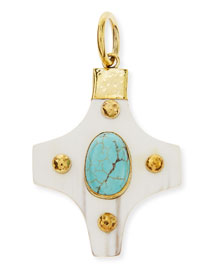 Kasha Pendant with Turquoise, Light Horn