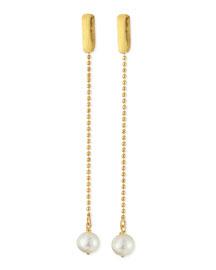 24k Gold Plated Yucata Single Pearl Drop Earrings