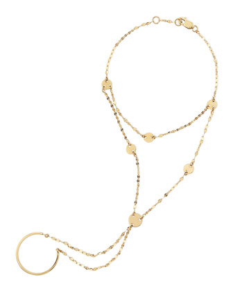 14-Karat Yellow Gold Disc Lariat Hand Chain