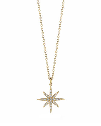 Compass White Topaz Star Pendant Necklace