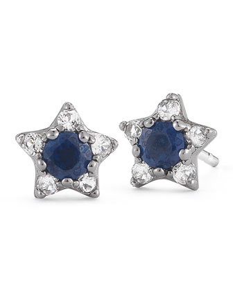 Bassa Blue Sapphire Star Stud Earrings