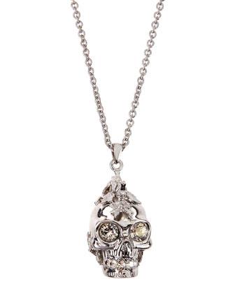 Leafy Mohawk Skull Pendant Necklace