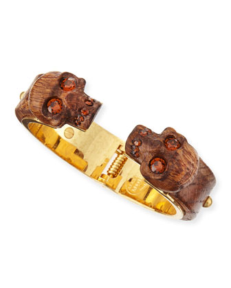Wooden Skull Bracelet, Golden