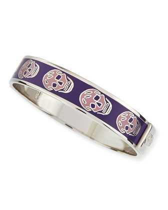 Small Enamel Skull Bangle, Dusty Pink/Purple