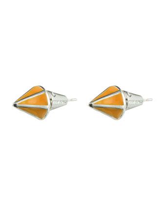 Silvertone Lotus Cone Stud Earrings, Yellow