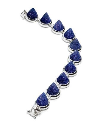 Silvertone Blue Sandstone Cone Bracelet