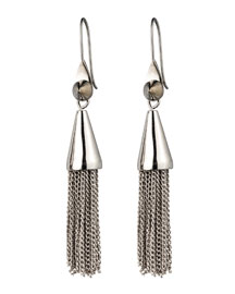 Small Silvertone Chain Tassel Drop Earrings