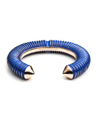 Enameled Rose Gold Plated Scaled Cuff, Blue