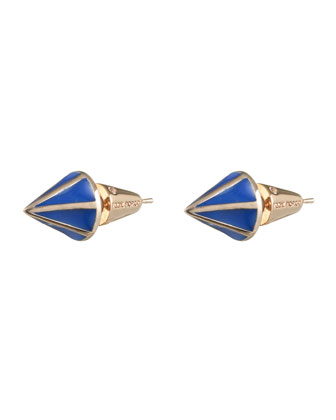Rose Gold Plated Lotus Cone Stud Earrings, Blue