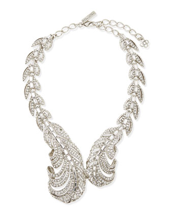 Pave Crystal Feather Necklace