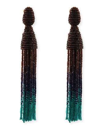 Long Ombre Bead Tassel Clip-On Earrings