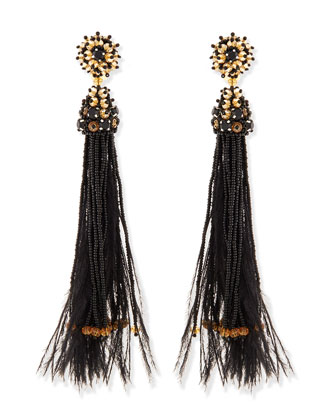 Black Bead & Feather Tassel Earrings