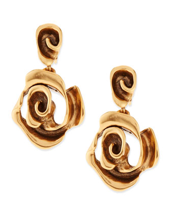 Golden Rose Drop Earrings