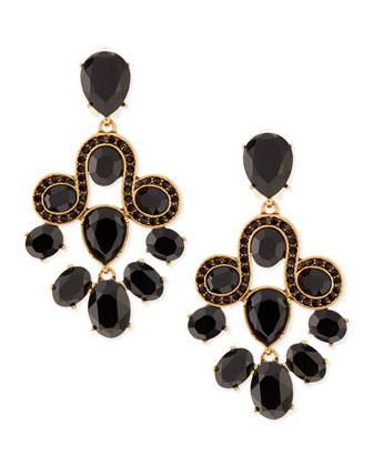 Golden & Faceted Crystal Chandelier Earrings