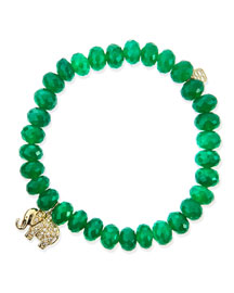 8mm Faceted Green Onyx Beaded Bracelet with 14k Gold/Diamond Small Elephant Charm (Made to ...