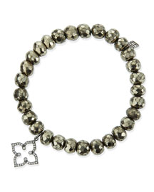 8mm Faceted Champagne Pyrite Beaded Bracelet with 14k Gold/Diamond Moroccan Charm