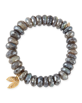 8mm Faceted Labradorite Beaded Bracelet with 14k Gold/Diamond Fortune Cookie Charm
