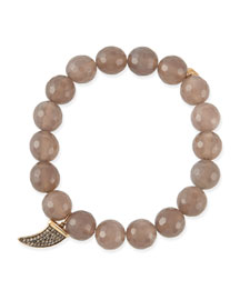 8mm Faceted Gray Agate Beaded Bracelet with 14k Gold/Diamond Horn Charm