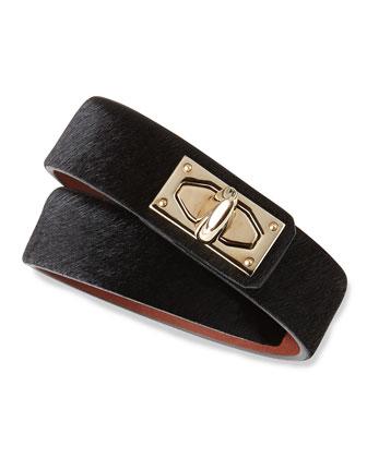 Calf Hair Shark-Lock Wrap Bracelet, Black