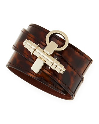 Tortoise Leather Wrap Bracelet, Brown