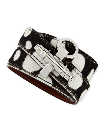Spotted Calf Hair Wrap Bracelet with Obsedia, Black/White