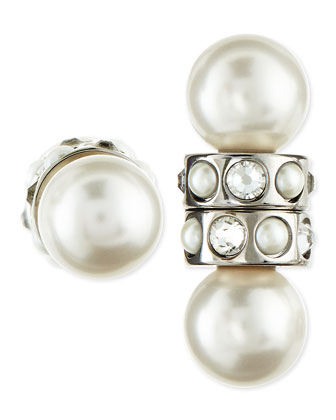 Magnetic Faux Pearl & Crystal Earrings