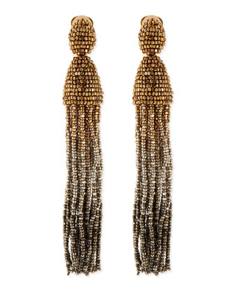 Long Ombre-Beaded Tassel Earrings, Golden