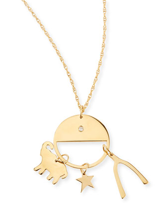 Noa Elephant, Star, and Wishbone Necklace