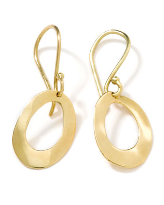 18K Gold Wavy Oval Earrings