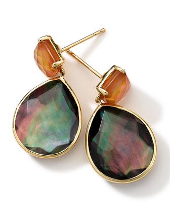 18k Gold Rock Candy Gelato Orange Citrine & Black Shell Earrings