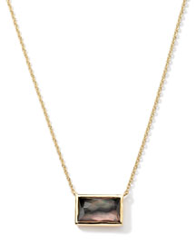 18k Gold Gelato Small Baguette Black Shell Necklace