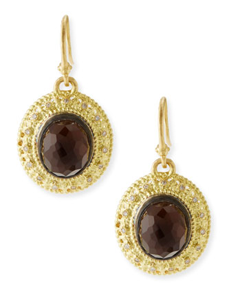 Gold Smoky Quartz Earrings with Diamonds