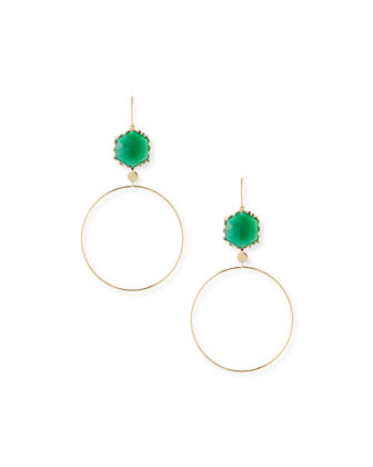Envy Green Onyx Hoop Drop Earrings