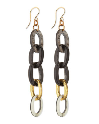 Mara Chain Earrings, Dark Horn
