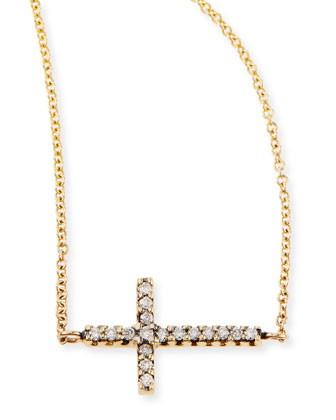 Pave Diamond Side Cross Necklace