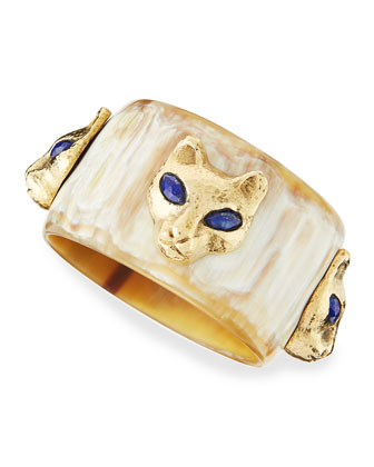 Machozi Bangle with Leopards, Light Horn