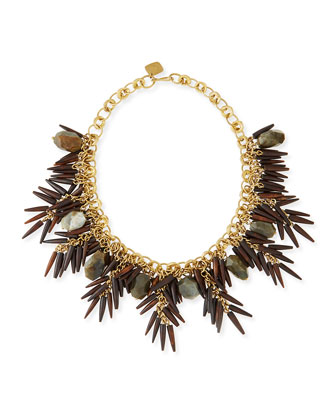 Majani Brown Quill & Labradorite Necklace