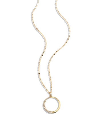 Femme Small Circle Necklace with Diamonds