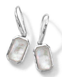 Rectangle Clear Quartz & Mother-of-Pearl Earrings