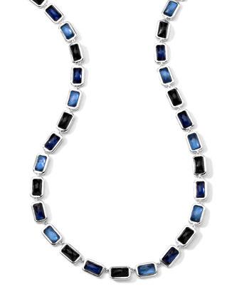 Rectangle-Cut Quartz, Mother-of-Pearl, Pyrite Necklace