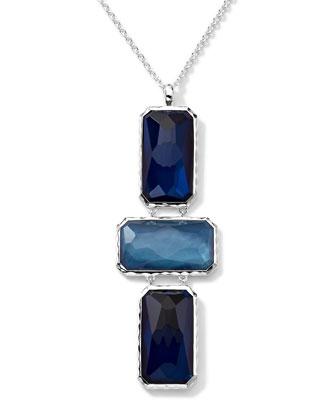 Wonderland 3 Rectangle-Cut Quartz, Mother-of-Pearl, Pyrite Pendant Necklace