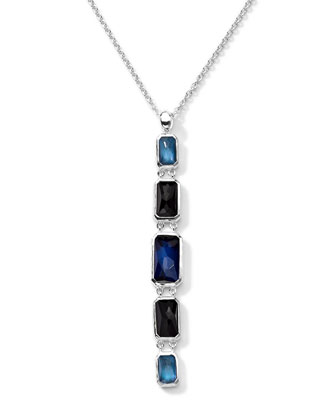 Linear 5 Quartz, Mother-of-Pearl, Pyrite Pendant Necklace