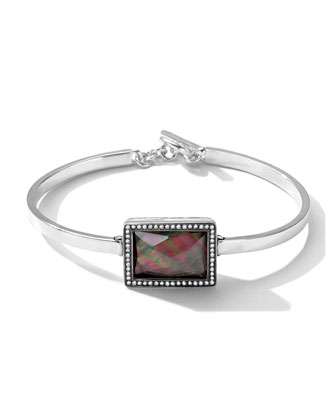 Stella Bracelet with Black Shell Rectangle & Diamonds