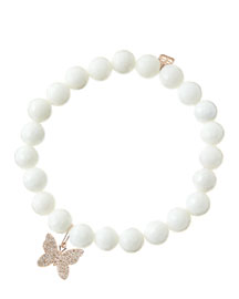 8mm Faceted White Agate Beaded Bracelet with 14k Rose Gold/Diamond Butterfly Charm (Made to ...