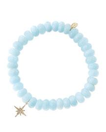 Aquamarine Rondelle Bracelet with Diamond Starburst Charm (Made to Order)