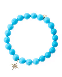 Blue Turquoise Round Beaded Bracelet with 14k Gold/Diamond Small Starburst Charm (Made to Order)