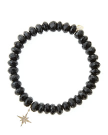 Black Spinel Beaded Bracelet with 14k Gold/Diamond Small Starburst Charm (Made to Order)