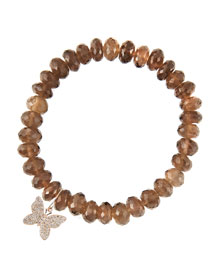 8mm Faceted Smoky Quartz Beaded Bracelet with 14k Gold/Diamond Small Butterfly Charm (Made to ...